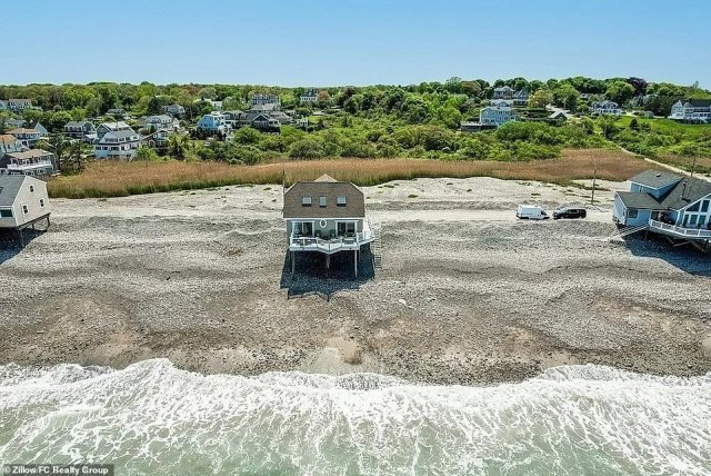 For the daring: Called the 'Summer Wind beach house,' it measures 1,674 square feet and sits on nearly an acre of private oceanfront property located between Egypt Beach and Mann Hill Beach