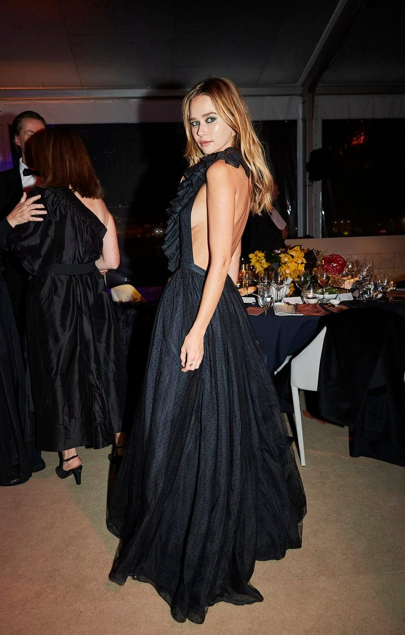 Show-stopper: Gabrielle, 24, oozed sophistication in a backlessblack dress