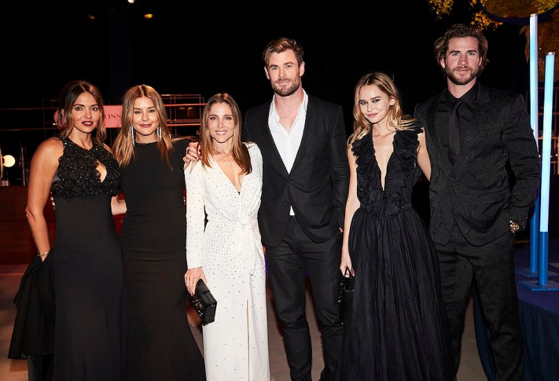 Hollywood A-list: A who's who of showbusiness, business and politics attended Australia's most exclusive charity event, the Gold Dinner 2021, at Sydney Airport on Thursday night. Pictured (left to right):Lucciana Barroso,Lauren Phillips, Elsa Pataky, Chris Hemsworth, Gabriella Brooks and LiamHemsworth