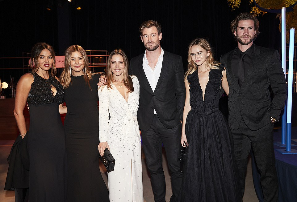 Glittering: A who's who of showbusiness, business and politics attended Australia's most exclusive charity event, the Gold Dinner 2021, at Sydney Airport on Thursday night. Pictured (left to right):Lucciana Barroso,Lauren Phillips, Elsa Pataky, Chris Hemsworth, Gabriella Brooks and LiamHemsworth