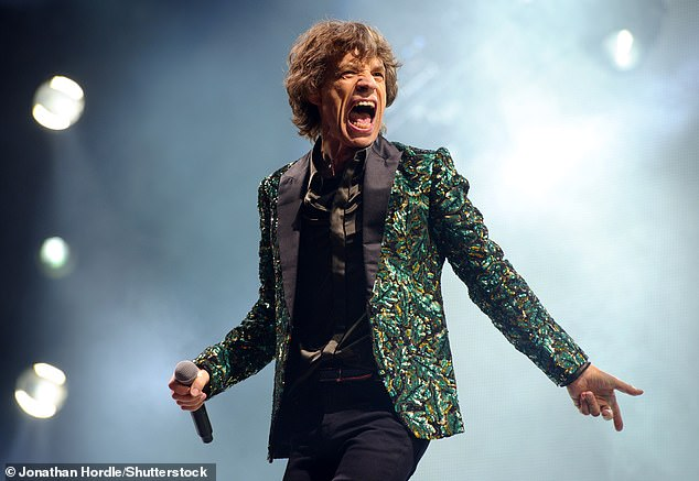 Mick Jagger wore this black satin, sequinned oak leaf jacket for the Rolling Stones performance at Glastonbury, 2013. 'We started to think about the show and I said to her that I wanted something very English — an oak leaf,' recalled Jagger. 'Most people just think it's a bright green jacket, but if you look you can see.' The jacket is up to £30,000