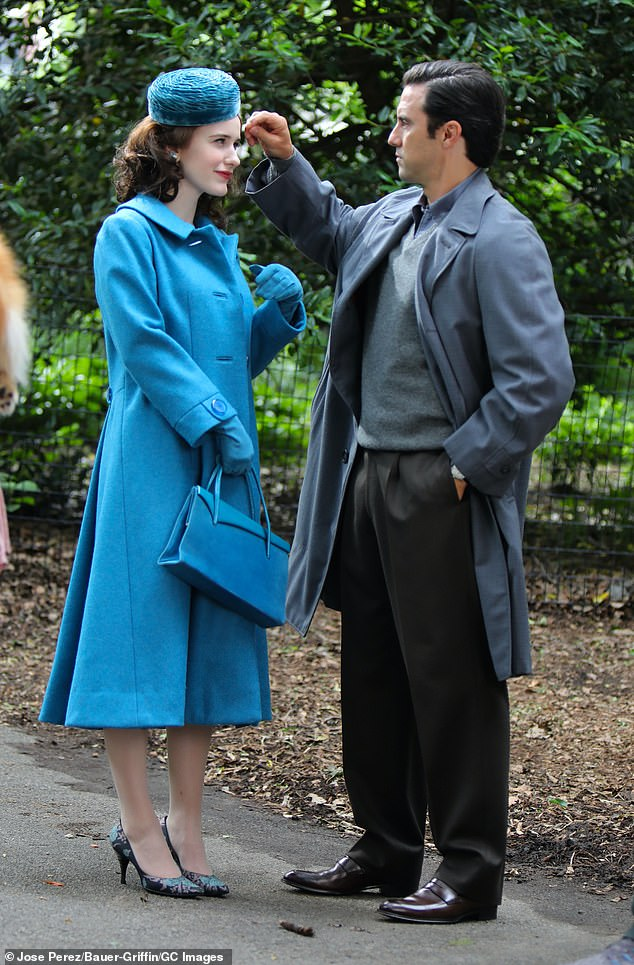 Surprise! This Is Us star Milo Ventimiglia (R) was spotted on the Manhattan set of The Marvelous Mrs. Maisel on Thursday for the first time since joining the cast of the Amazon hit series' fourth season