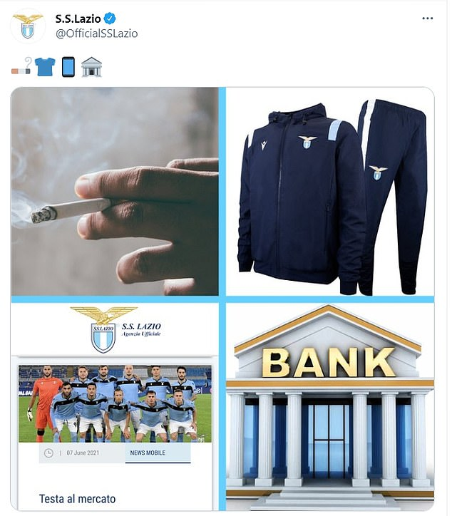 Lazio teased Sarri's arrival with images of smoking and the bank - where he used to work