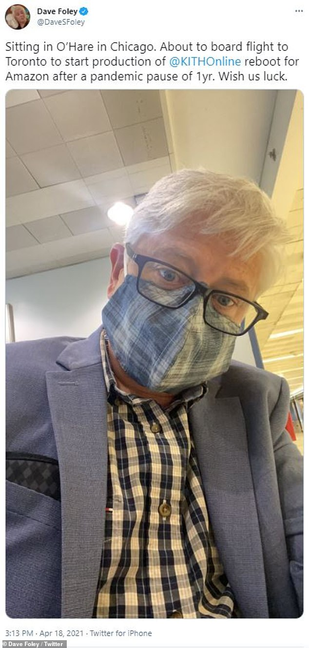In April: Dave also shared a selfie while he was traveling to the shoot, which he noted in the caption had been delayed due to the pandemic 'pandemic pause of one year'