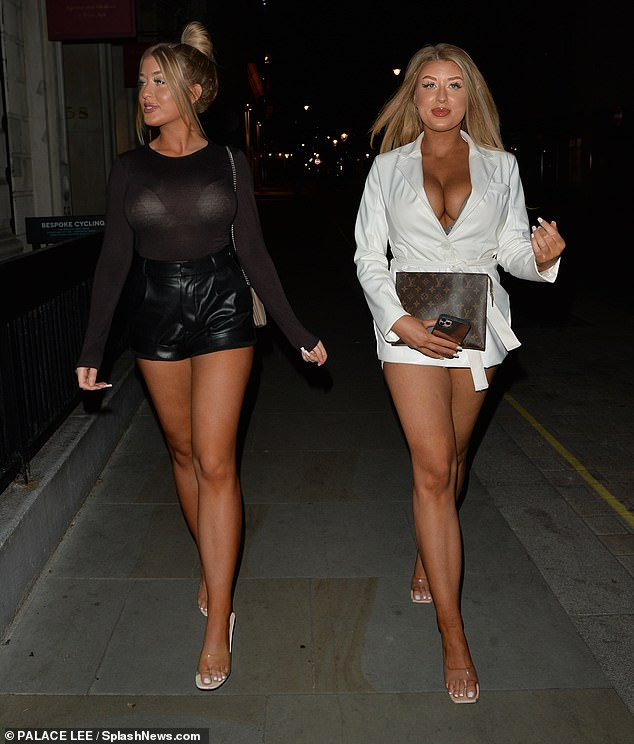 Turn heads: Twins Jess and Eve Gale both performed leg demonstrations on Thursday in tiny shorts as they made their way to dinner at Mr Chow's in Knightsbridge