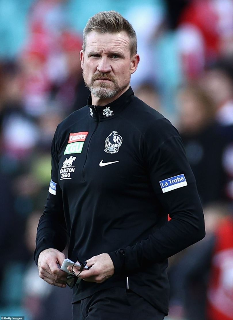 Heartbreak hotel: The outgoing Collingwood coach, 48,has been living the bachelor lifestyle in South Yarra since splitting from his wife-of-18-years, Tania Minnici, in 2020. Pictured:Nathan Buckley at the SCGon May 15