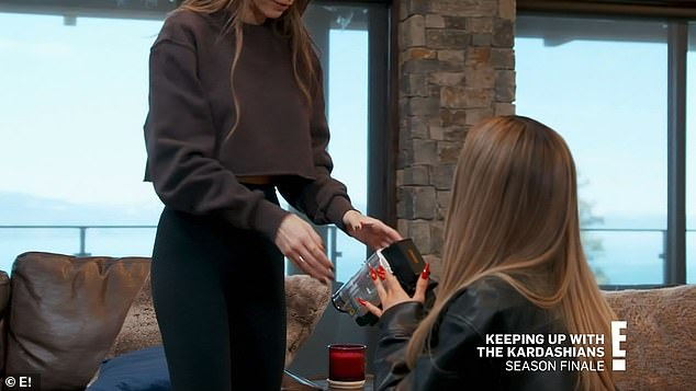 Perfect gift:During the season finale, the 23-year-old makeup mogul was given a vintage camcorder from her sister Kendall, 25, as the family exchanged Secret Santa gifts