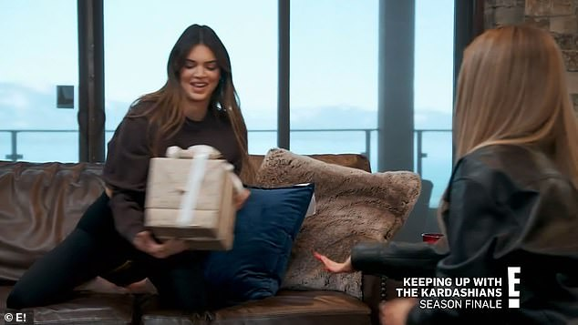 Thoughtful: As for her gift, Kendall ended up getting a trio of vintage Hermes ash trays from the 'best gift giver' Kylie, who admittedly did not follow the family's '20 dollars or less memo'