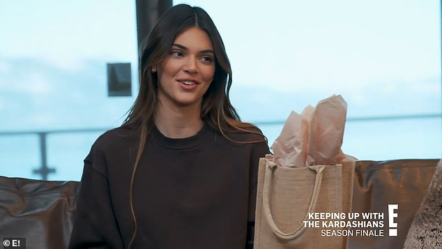 Preface:'Because the show's over, this is just a little symbol of the show being over,' Kendall prefaced as she handed off a gift bag to an intrigued Kylie