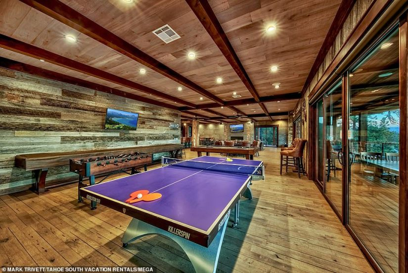 Play ball! The home includes a game room, which has tables for pool, foosball, shuffleboard and table tennis