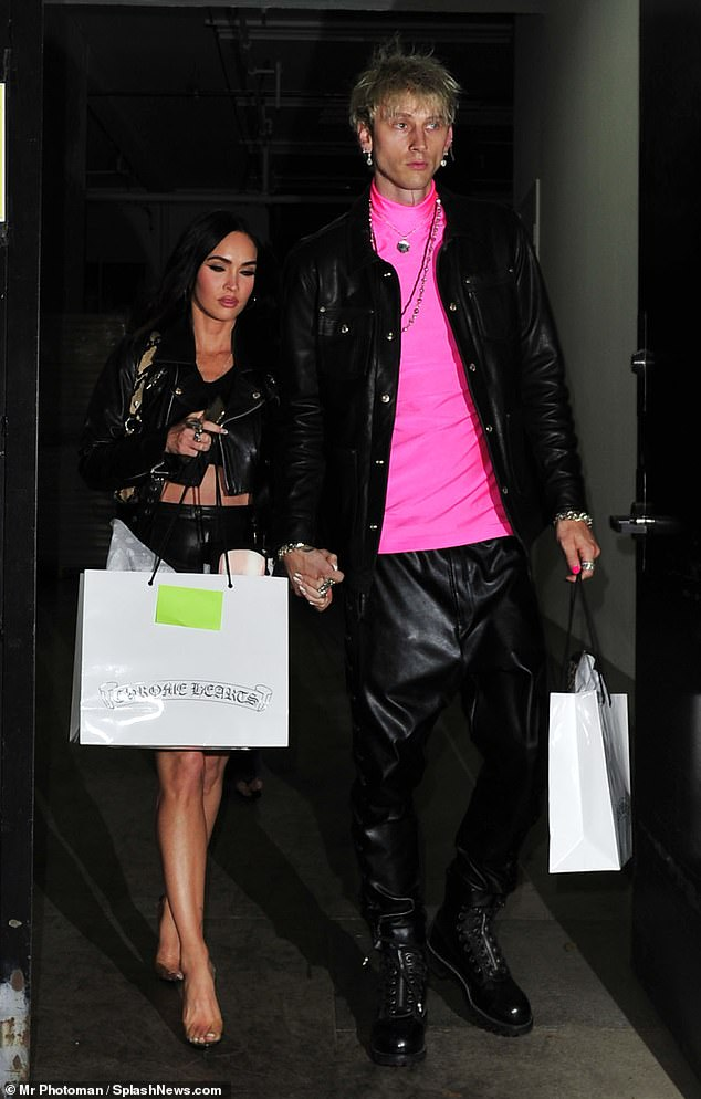 Edgy: Megan Fox sizzled in an all-leather ensemble and matched her handsome Machine Gun Kelly, 31, as they attended a private event in Hollywood on Thursday