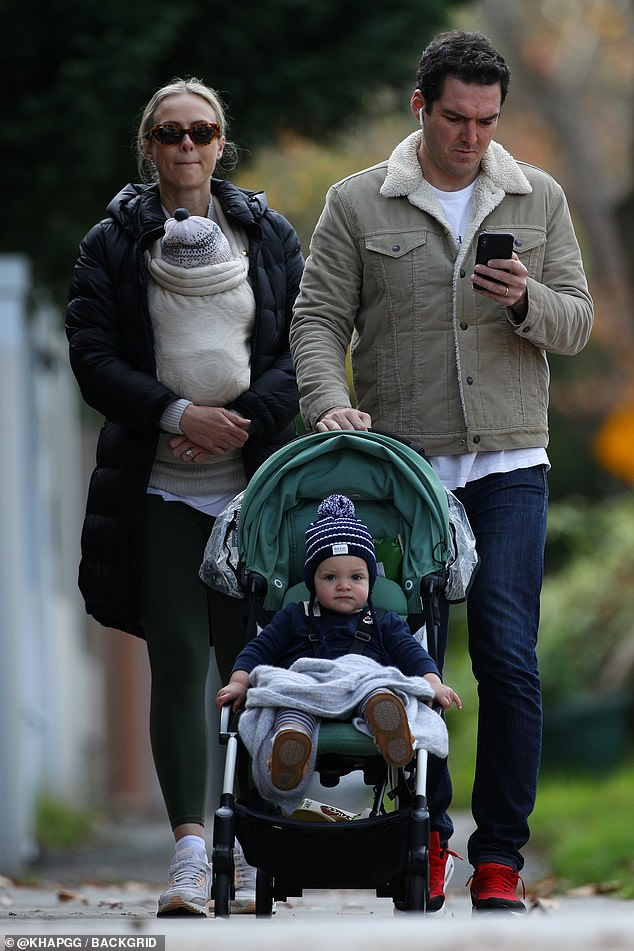 Family time!Sylvia Jeffreys and Peter Stefanovic enjoyed some family time on Thursday. The power couple went for a stroll with their two sons, Oscar, one, and Henry, two months, around the Eastern Suburbs