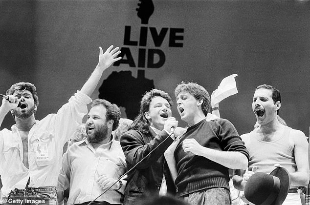 All-star: Sir Bob Geldof's Live Aid concert could make a comeback in coronavirus fight, 37 years after first concert fundraising efforts for Ethiopian famine relief (LR: George Michael, promoter Harvey Goldsmith, lead singer of U2 Bono, Paul McCartney, Freddie Mercury)