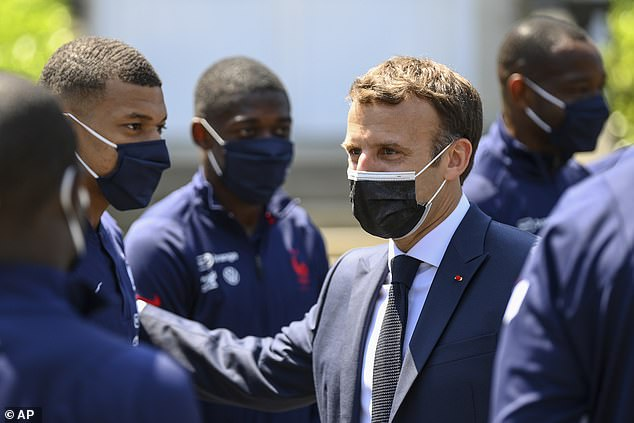 Macron also reserved praise for Kylian Mbappe (L), saying he was 'important' for the country