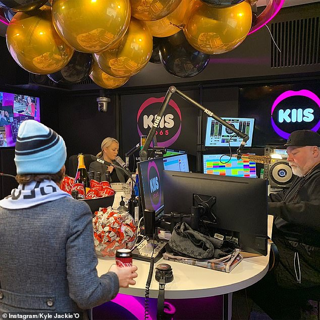 Meme'd! Gladys' sweet tribute comes after she was hilariously troll by the Kyle and Jackie O show this week as part of State of Origin festivities.That photo was then Photoshopped to show her inside KIIS FM studio, with Kyle and Jackie seated behind their microphones