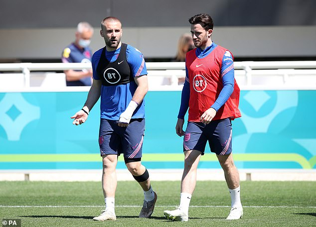 Shaw and Chilwell pictured during a training session at St George's Park earlier this week