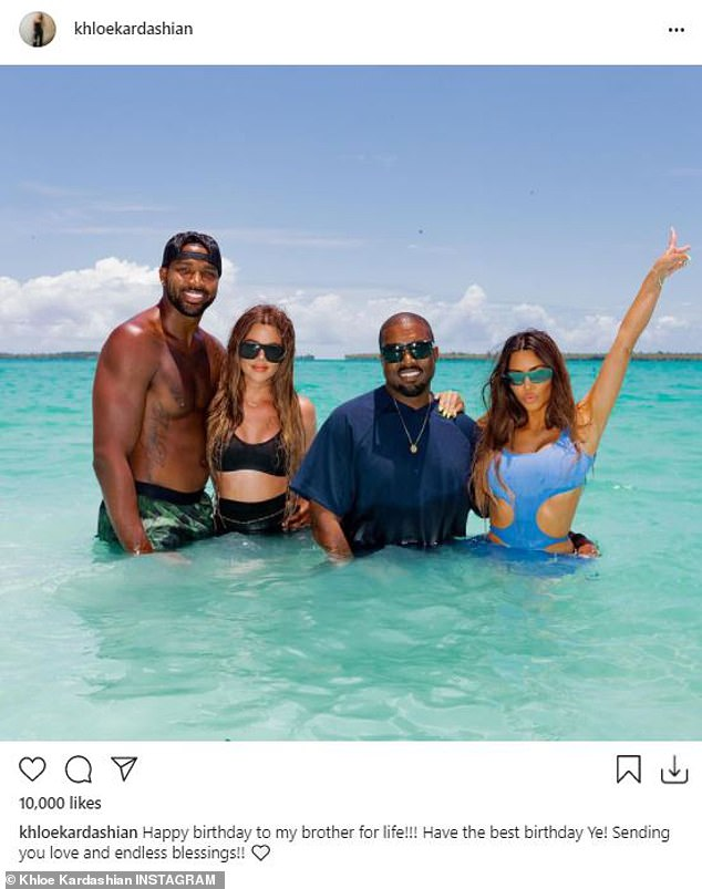 Family:Khloé also posted a photo of herself with the former couple on his birthday, with the caption, 'Happy birthday to my brother for life!!! Have the best birthday Ye! Sending you love and endless blessings!!'