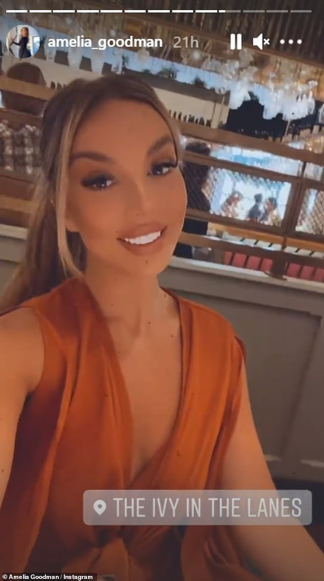 Glam: Amelia looked glamorous when she turned the camera on herself, revealing that they had chosen to eat at Ivy in Brighton