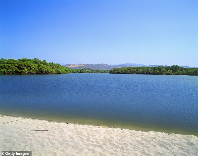Georgia added that she had checked with the tour guide whether it was a safe place to swim before she and her sister went into the water. Pictured:Manialtepec Lagoon