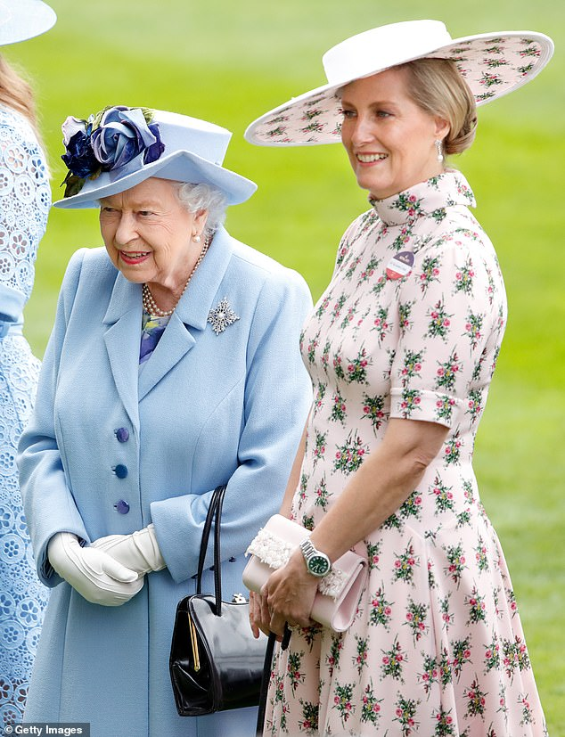 The Countess of Wessex (pictured with the monarch in 2019) has become the Queen's 'rock' after Prince Philip's death by 'phoning at least once a day and ensuring she is fully supported', a royal expert has claimed