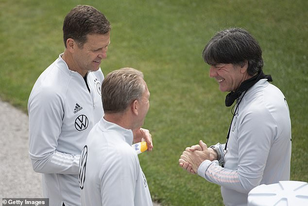 The former Germany forward (L) said the team were blessed with 'fantastic' facilities ahead of a tricky game against France