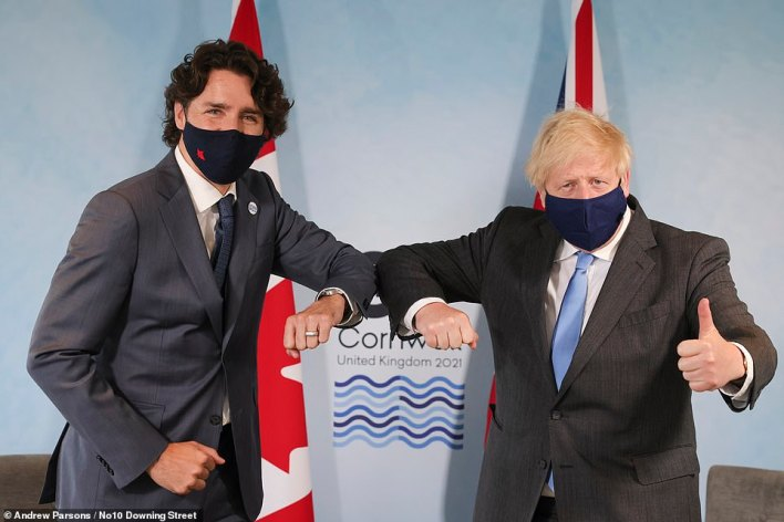 Prime Minister Boris Johnson holds a bilateral meeting with Justin Trudeau, the Prime Minister of Canada as he chairs the G7 Leaders Summit in Carbis Bay
