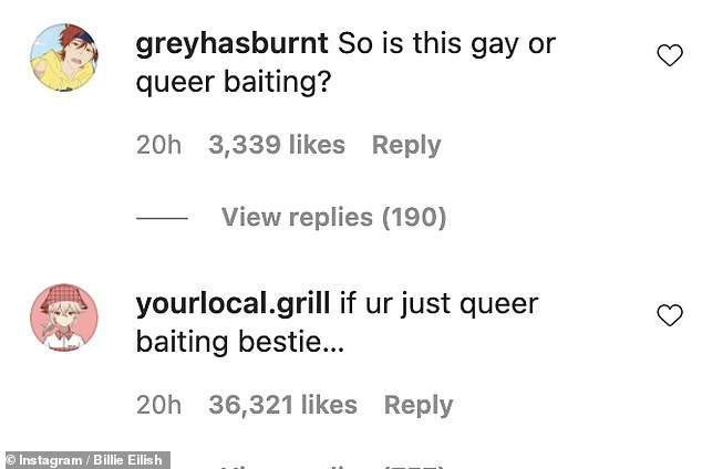 Reaction:Despite many music lovers praising her snaps, others were a little uneasy with one writing: 'Funny she is posting this in June, pride month. Bestie you better not be queer baiting'