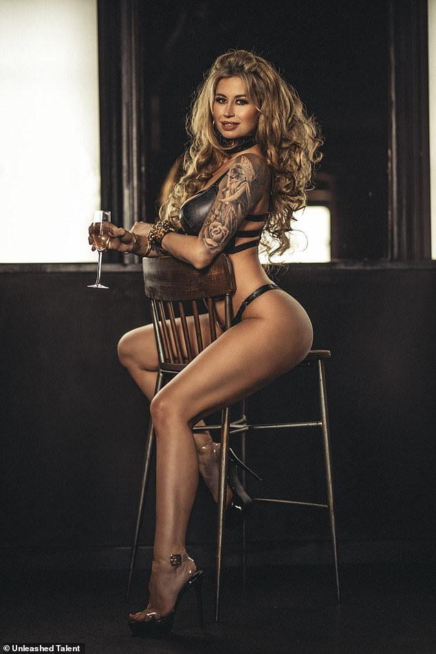 Wow: Slipping into a series of bondage-inspired lingerie, Ester provocatively drank champagne while flashing the camera a series of sultry poses
