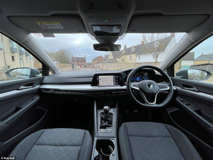 The basic Golf is not wanting for equipment. As standard you get a high-def digital instrument cluster, 10-colour interior ambient lighting you can set yourself, wireless phone charging, front and rear parking sensors, traffic sign recognition, armrests front and back and front-seat adjustable lumbar support