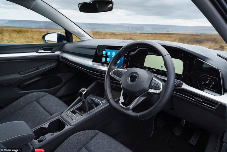 Even the most basic Golfs get a 10-inch touchscreen with sat-nav and also the latest iterations of Apple CarPlay and Android Auto built in. DAB radio is also standard
