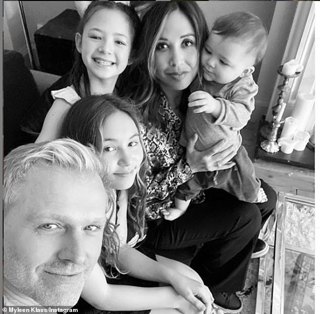 Her story: The presenter told how she is a 'mama to seven babies' - her daughters, Ava, 13, and Hero, 10, and Apollo, 22 months, as well as 'four little stars in the sky'