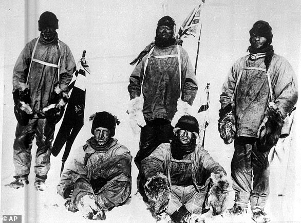 Ill-fated journey: Captain Scott and his Terra Nova expedition party are pictured not long before they perished on their return journey from the South Pole in 1912