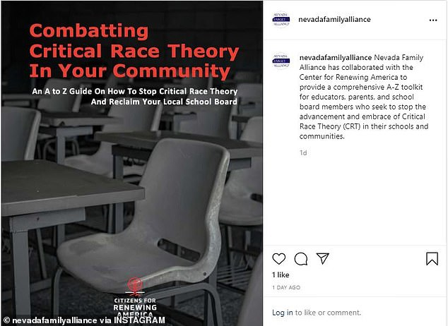 The proposal was put forward by the Nevada Family Alliance - a group that describes itself as a 'watchdog organization. They put out this guide on how to combat critical race theory