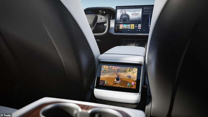 The new electric vehicle also has an 'all-new interior,' including a yoke steering wheel, a panoramic 17-inch main screen and ventilated front seats