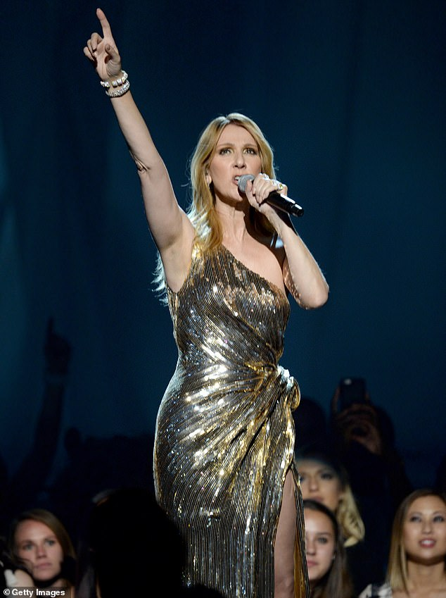 Making it big: Dion achieved her biggest hit with My Heart Will Go On, which was included on the Titanic soundtrack; she is seen performing at the2016 Billboard Music Awards