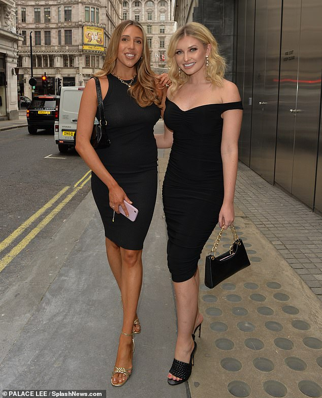 Dinner date: The blonde beauty looked radiant in the elegant midi dress as she grabbed dinner at the Savoy Hotel