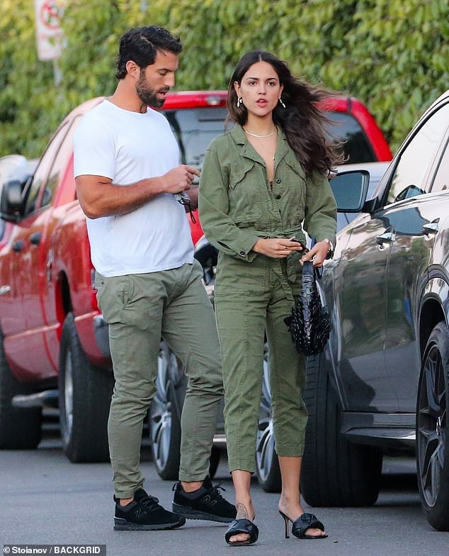 Dressing well: The Godzilla Vs. Kong actress wore a stylish army green jumpsuit while spending time with the professional lacrosse player