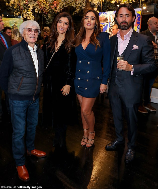 Father:The billionaire businessman is already a father to daughters Deborah, 65, Tamara, 35, and Petra, 31 (pictured in 2018 with Fabiana and his daughter Tamara and husband Jay Rutland)