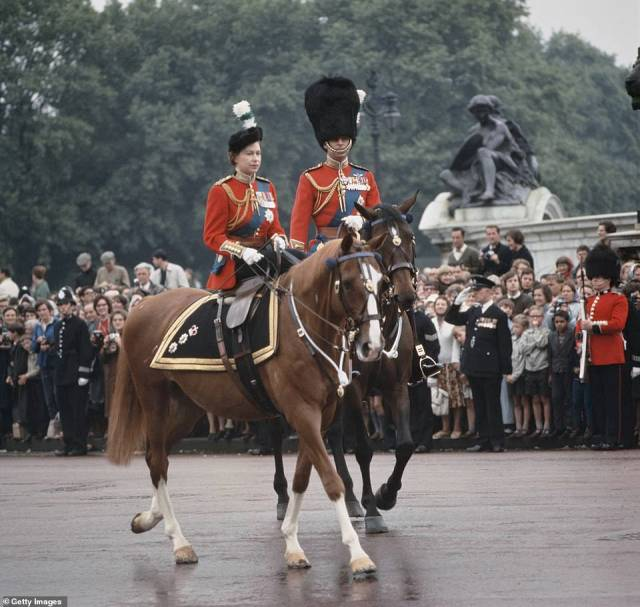 1965 — LIFE LONG PARTNERS: Queen Elizabeth II and Prince Philip return to Buckingham Palace after the Trooping The Colour ceremony.