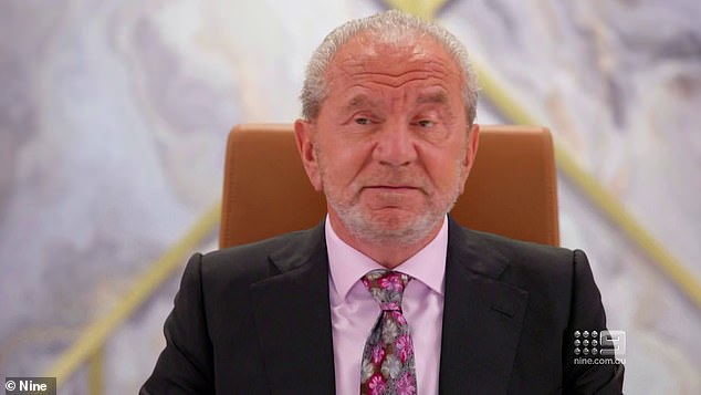 Who will he fire next?Celebrity Apprentice finale week kicks off on Sunday at 7pm on Channel Nine, followed by Monday and Tuesday at 7.30pm. Pictured: fearsome CEO, Lord Alan Sugar