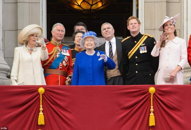 2013 — HANDS UP:The Duchess of Cornwall, the Prince of Wales, the Princess Royal, Queen Elizabeth II, the Duke of York, Prince Harry and the Duchess of Cambridge on the balcony of Buckingham Palace, in central London, following the annual Trooping the Colour parade.