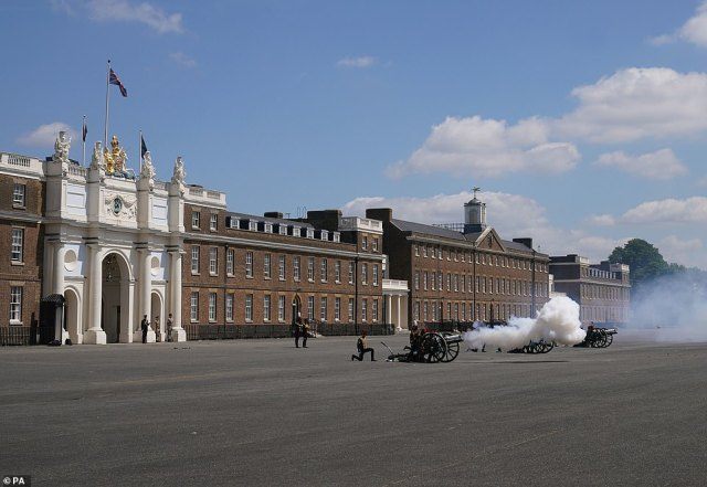 The King's Troop Royal Horse Artillery fire a 21 Gun Salute at Royal Artillery Barracks in Woolwich to mark the official birthday of Queen Elizabeth II