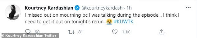 As the finale was airing: Kourtney tweeted about her activities, saying she was too distracted to get overly emotional