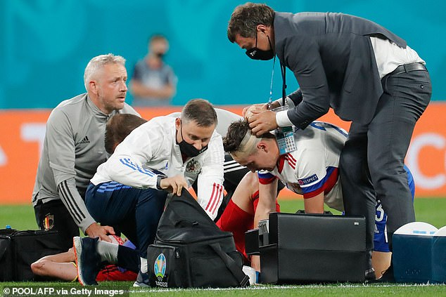 The Belgian suffered the injury after colliding with Daler Kuzyaev in his side's 3-0 victory