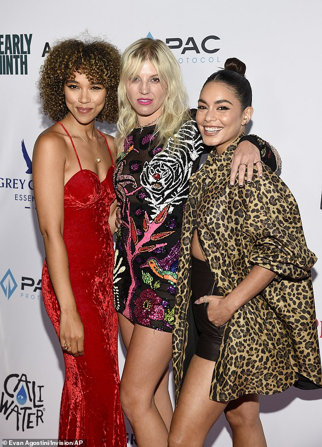 Posing away: Hudgens and Shipp were also joined by singer GG Magree as well as director Eamon O'Rourke