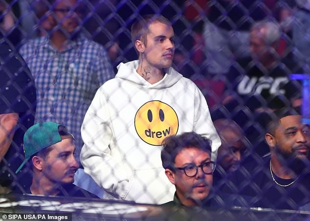 Brand ambassador:Justin Bieber was wearing his Drew fashions on Saturday, when he was seen at the UFC 263 fight at Gila River Arena in Glendale, Arizona
