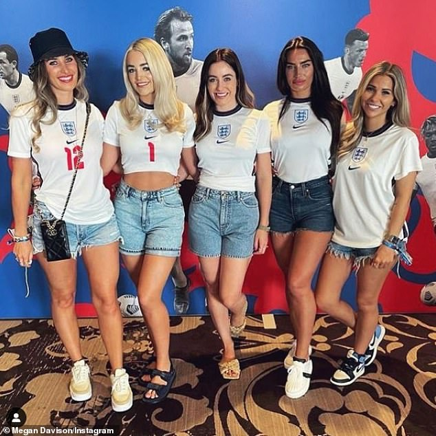 Support:Kyle Walker's fiancée Annie Kilner (centre right) supported her man as he took to the pitch for England's Euro 2020 opener with Croatia on Sunday