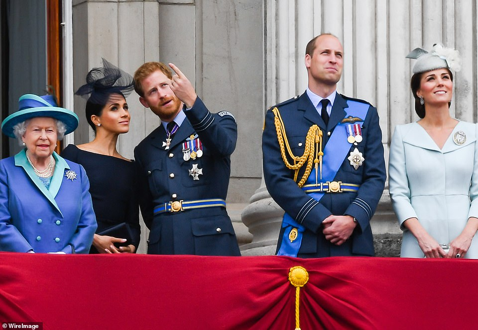 Harry and Meghan (pictured with the Queen and William and Kate in 2018) want to 'keep the peace' with the Royal Family, but have 'no regrets' about doing their bombshell interview with Oprah Winfrey, it has been reported