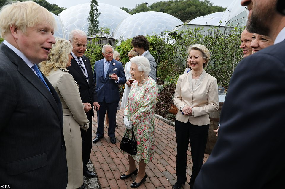 Queen Elizabeth II speaks to US President Joe Biden and his wife Jill as she attends a reception at the Eden Project with Prime Minister Boris Johnson and G7 leaders, during the G7 summit in Cornwall. Picture date: Friday June 11, 2021