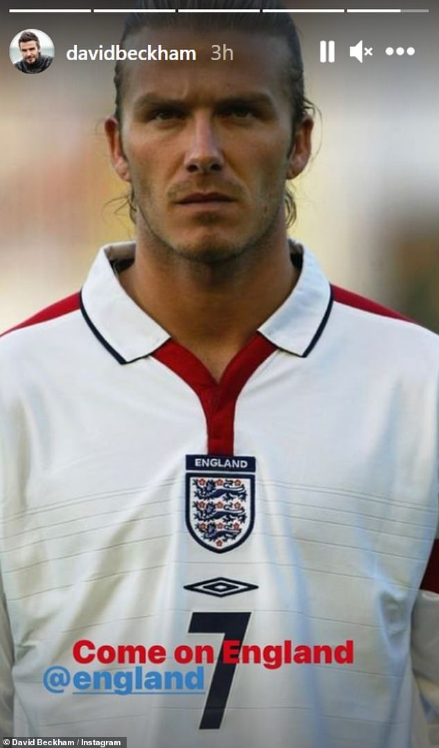 'Come on England!'David also shared a photo of himself in an England shirt from his career in the squad